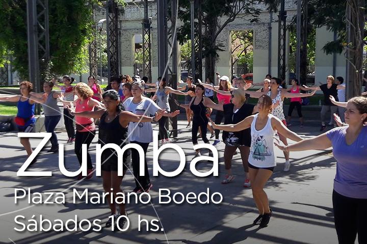 Zumba gratis en la Plaza Mariano Boedo